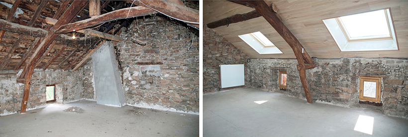 Intérieur de maison rénovée, avant-après