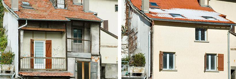 Maison de village rénovée, avant-après