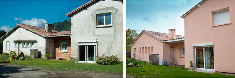 Maison rénovée, avant/après