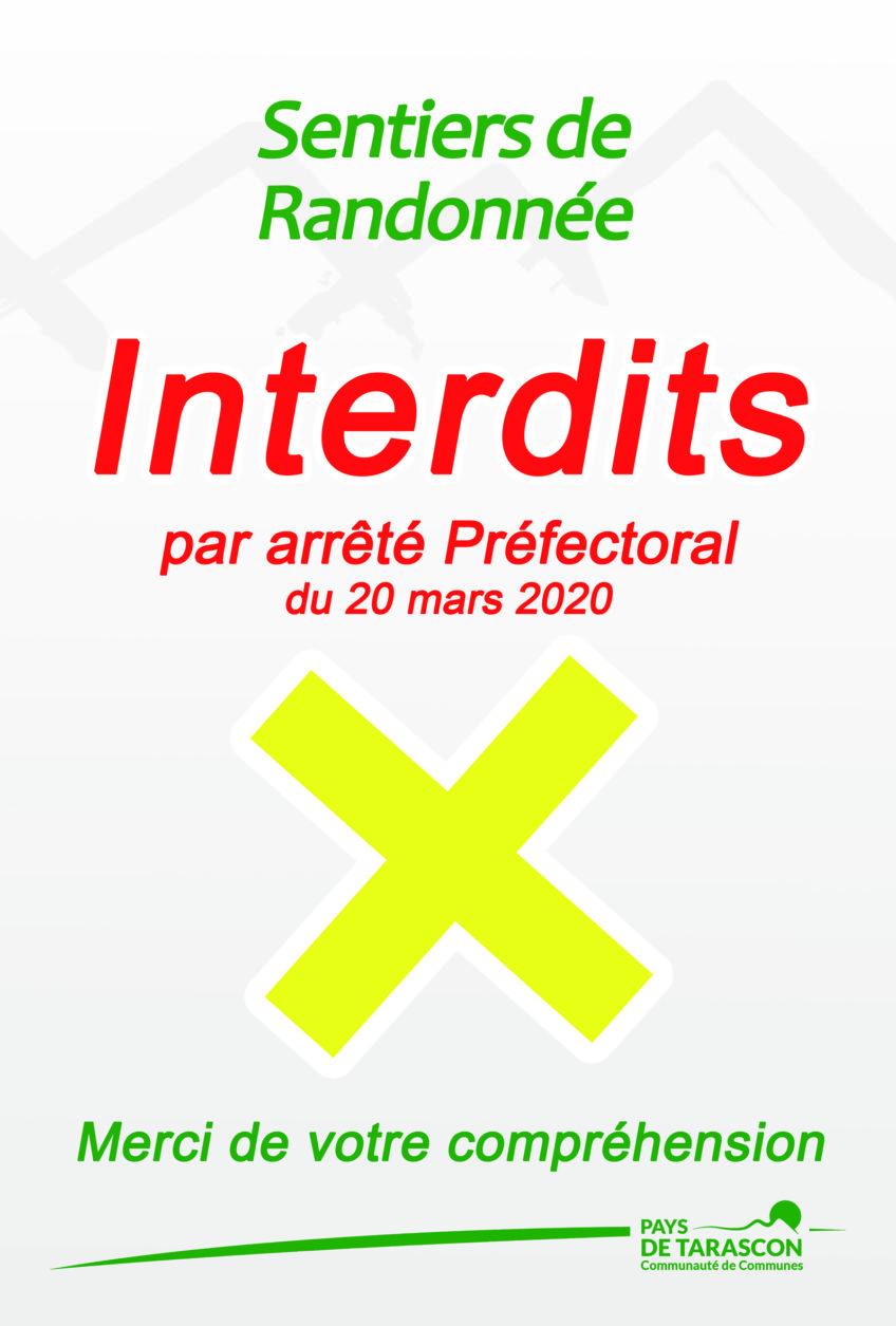 SENTIERS DE RANDONNÉE INTERDITS PAR ARRÊTÉ PRÉFECTORAL